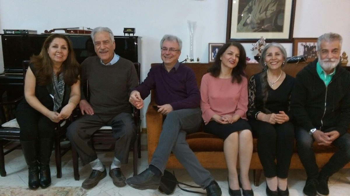 Jamaloddin Khanjani, 2nd from left, with three other former members of the Yaran who have completed their unjust sentences—Saeid Rezaie (center), Fariba Kamalabadi (3rd from right), and Mahvash Sabet (2nd from right)