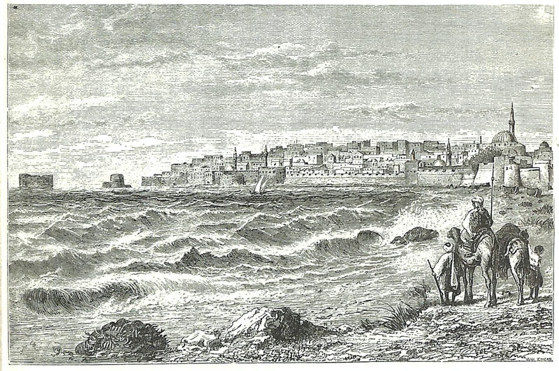 This drawing from a book published in the 1880s depicts Akka from a beach to the city's west. The sea gate is near the left edge of the sea wall. (Source: W.M. Thompson, The Land and the Book)