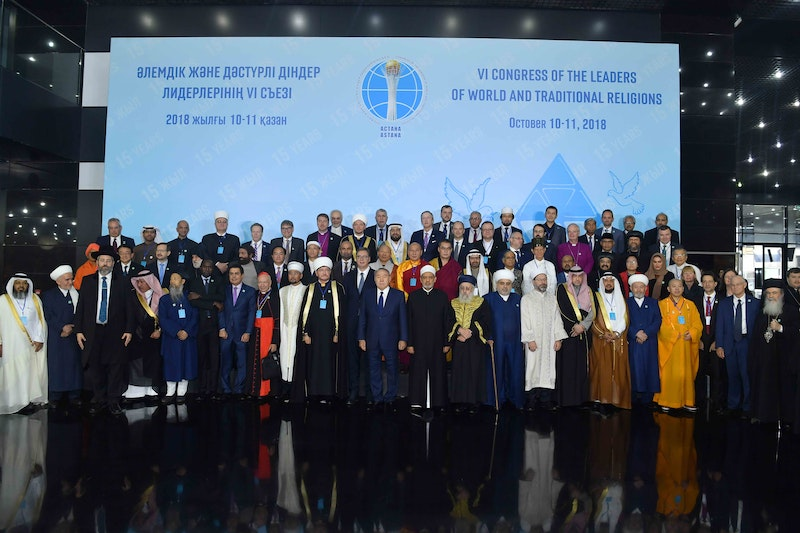 Delegates to the 6th Congress of the Leaders of World and Traditional Religions gather for a group photograph. The Congress, hosted by Kazakhstani President Nursultan Nazarbayev, was held on 10 and 11 October in Astana, Kazakhstan.
