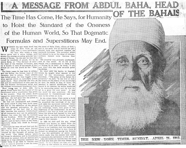 An article in The New York Times on 21 April 1912 describes the talks 'Abdu'l-Baha gave while visiting the city.