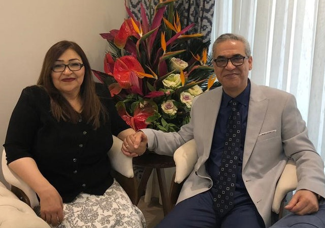 Afif Naeimi and his wife in Tehran earlier today