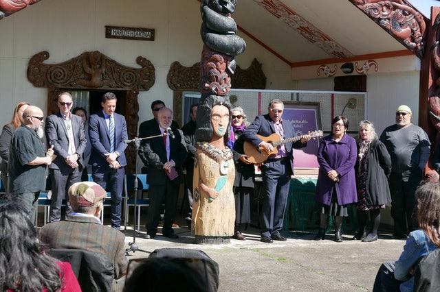 In September, a Baha'i prayer book in the Maori language was published, the first substantial collection of Baha'i prayers in the indigenous language. This photo shows a celebratory event announcing the publication at a local Maori community meeting grounds near Hamilton, New Zealand.