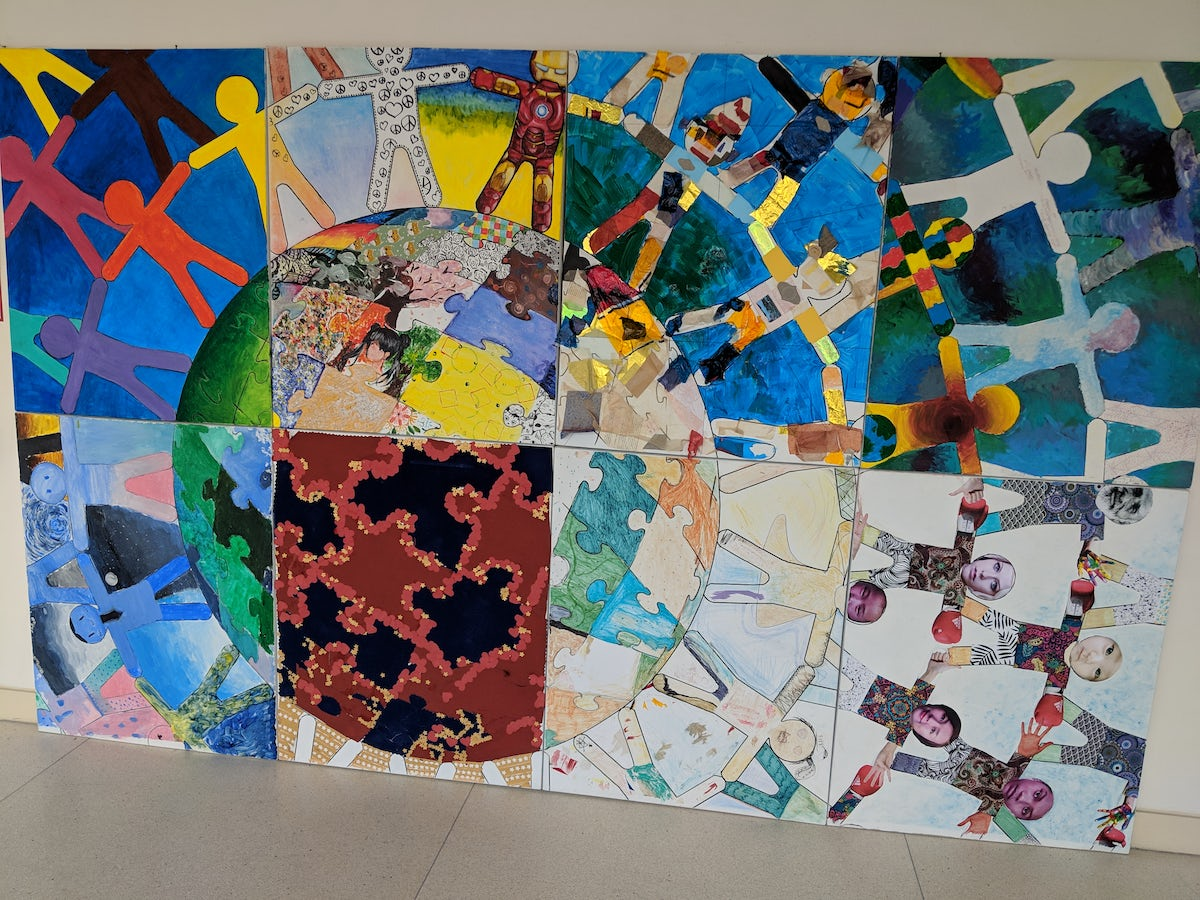 Students from different grade levels collaborated on this art project.